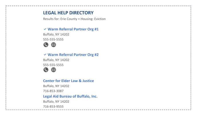 Legal Help Directory Listing for Warm Referral Organizations